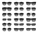 Realistic sunglasses with a translucent black glass in a black frame. Protection from sun and ultraviolet rays. Fashion accessory vector illustration set.