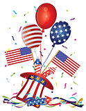 4th July Hat Balloons American Flag Firecrackers and Confetti Il