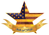4th of July Banner and Star with USA Flag Texture Illustration