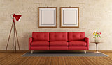 Red sofa in a living room