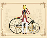 Englishman aristocrat on retro vintage old bike on old city back