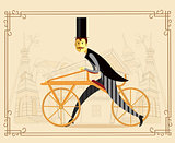 Retro bicycle - draisienne or hobby horse. Vector illustration.