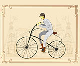 Man on vintage retro old bicycle on old city background. Vector