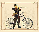 Retro vintage old bicycle and military man vector illustration