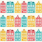 Seamless house pattern - Dutch, Amsterdam houses, mid-century modern style