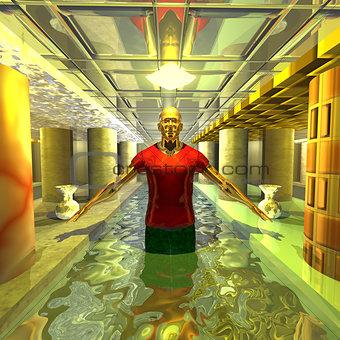 Bathing a mysterious alien