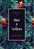 Floral wedding invitation with guzmania flowers, monstera and royal palm leaves. Exotic hawaiian vector background.