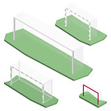 Gate for playing soccer in isometric, vector illustration.