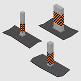 Set of concrete columns and pillars, vector illustration.