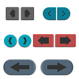 Stylish multicolored web buttons with 3D effect, vector illustration