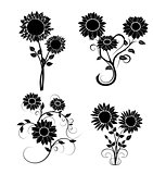set of sunflowers silhouette 2