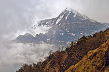 Cloudy Mountain Landscape in Himalaya. Cloudscape, Hiun Chuli peak.