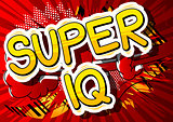 Super IQ - Comic book style phrase on abstract background.