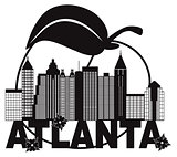 Atlanta Skyline Peach Dogwood Black White Text Illustration