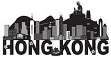 Hong Kong Skyline Buddha Statue Text Black and White Illustratio