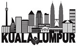Kuala Lumpur City Skyline Text Black and White Illustration