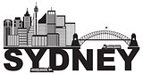 Sydney Australia Sklyine Text Outline Black and White Illustrati