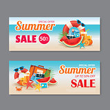 Summer sale voucher background template. Discount coupon. Banner