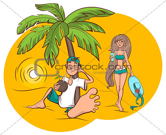 Beach vacation. Young man and woman are drinking refreshing cocktail on tropical island