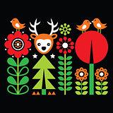 Scandinavian folk art pattern with flowers and animals, Finnish inspired design on black
