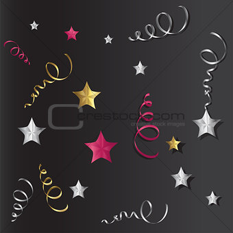 Tinsel and stars set for cards and gift paper