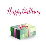 Illustration of a gift box and inscription HAPPY BIRTHDAY