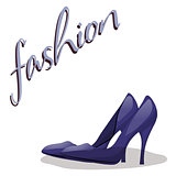 Fashionable woman s shoes blue color and fashion handwritten sing.