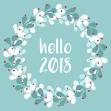 Pastel laurel vector wreath hello New Year 2018