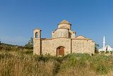Panayia Kanakaria Monastery Church, Cyprus- mosque in background