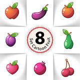 Icons fresh fruit. Pear, lemon, melon, mango, orange, cherries, apple, heart - vetor cartoon illustration