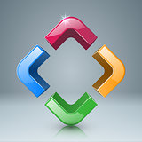 Color four box glass icon.