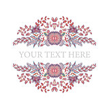 Floral frame. Hand draw fantasy flowers. Round frame with place for text.