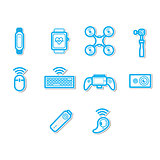 Thin line technology icon set