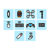 Flat color technology icon set