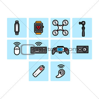 Flat color technology icon set