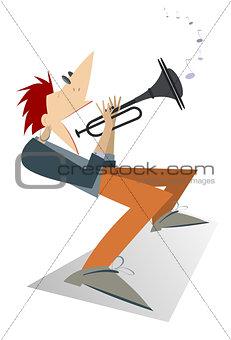 Cartoon trumpeter illustration isolated