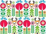Scandinavian pattern, seamless folk art pattern, children background
