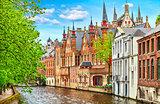 Medieval town Bruges in Belgium panorama