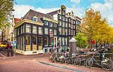 Urban landscape in Amsterdam Netherlands panorama street