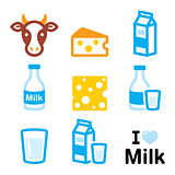 Dairy products icons - milk, cheese vector design set