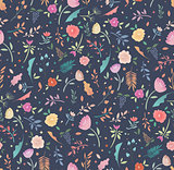 Colorful floral seamless floral pattern on a dark background.