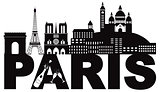 Paris Skyline Text Champagne Black and White Illustration