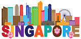 Singapore City Skyline Text Color Illustration