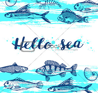 Blue marine background