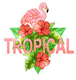 Tropical banner with flamingo