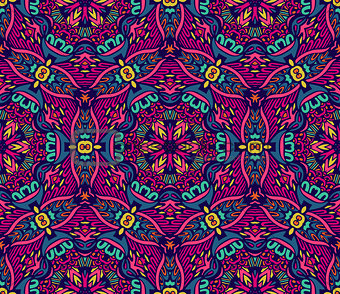 Abstract floral mosaic colorful seamless pattern