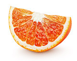wedge of blood red orange citrus fruit isolated on white