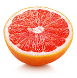 half of pink grapefruit citrus fruit isolated on white
