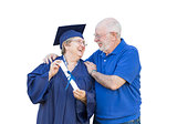 Senior Adult Woman Graduate in Cap and Gown Being Congratulated