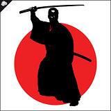 Martial arts. Kendo katana fighter scene.